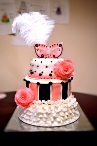 Masquerade Cake with ruffles, stripes, roses, polka dots and a fondant mask.