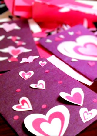 Handmade Valentine's Day cards.