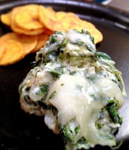 Paleo Hot Spinach and Artichoke Dip with Plantain Chips